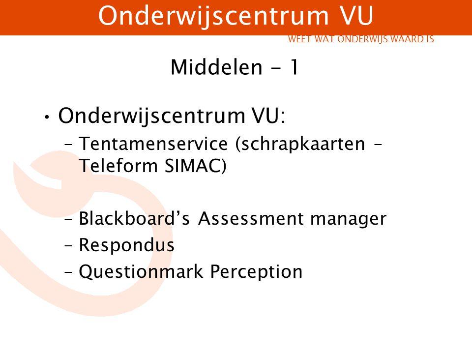Onderwijscentrum VU WEET WAT ONDERWIJS WAARD IS Blackboard Assessment Laagdrempelig Docentsturing Beperkt aantal vragen in itembank (0- 250) Voldoende mogelijkheden voor maken gesloten toetsvragen (pro: numerieke variabelen) Voor eenvoudige tussentoetsen Eenvoudige toetsanalyse