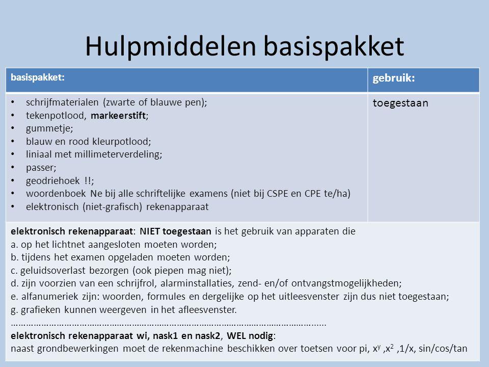Hulpmiddelen basispakket. basispakket: gebruik: schrijfmaterialen (zwarte of blauwe pen); tekenpotlood, markeerstift; gummetje; blauw en rood kleurpot