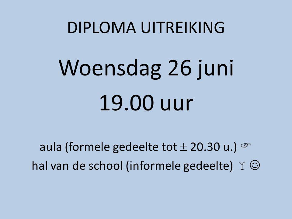 DIPLOMA UITREIKING Woensdag 26 juni 19.00 uur aula (formele gedeelte tot  20.30 u.)  hal van de school (informele gedeelte) 