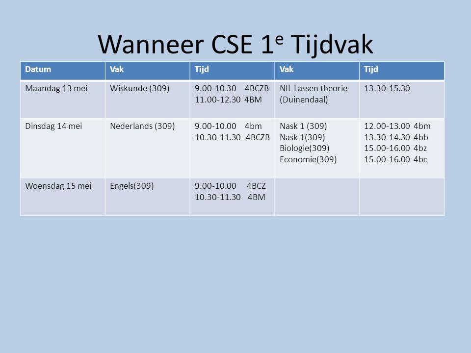 Wanneer CSE 1 e Tijdvak DatumVakTijdVakTijd Maandag 13 meiWiskunde (309)9.00-10.30 4BCZB 11.00-12.30 4BM NIL Lassen theorie (Duinendaal) 13.30-15.30 D