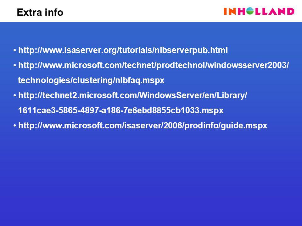 Extra info http://www.isaserver.org/tutorials/nlbserverpub.html http://www.microsoft.com/technet/prodtechnol/windowsserver2003/ technologies/clustering/nlbfaq.mspx http://technet2.microsoft.com/WindowsServer/en/Library/ 1611cae3-5865-4897-a186-7e6ebd8855cb1033.mspx http://www.microsoft.com/isaserver/2006/prodinfo/guide.mspx