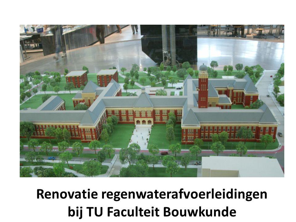 Renovatie regenwaterafvoerleidingen bij TU Faculteit Bouwkunde