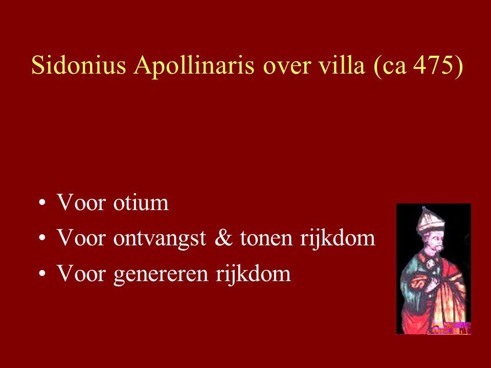 Sidonius Apollinaris over villa (ca 475) Voor otium Voor ontvangst & tonen rijkdom Voor genereren rijkdom