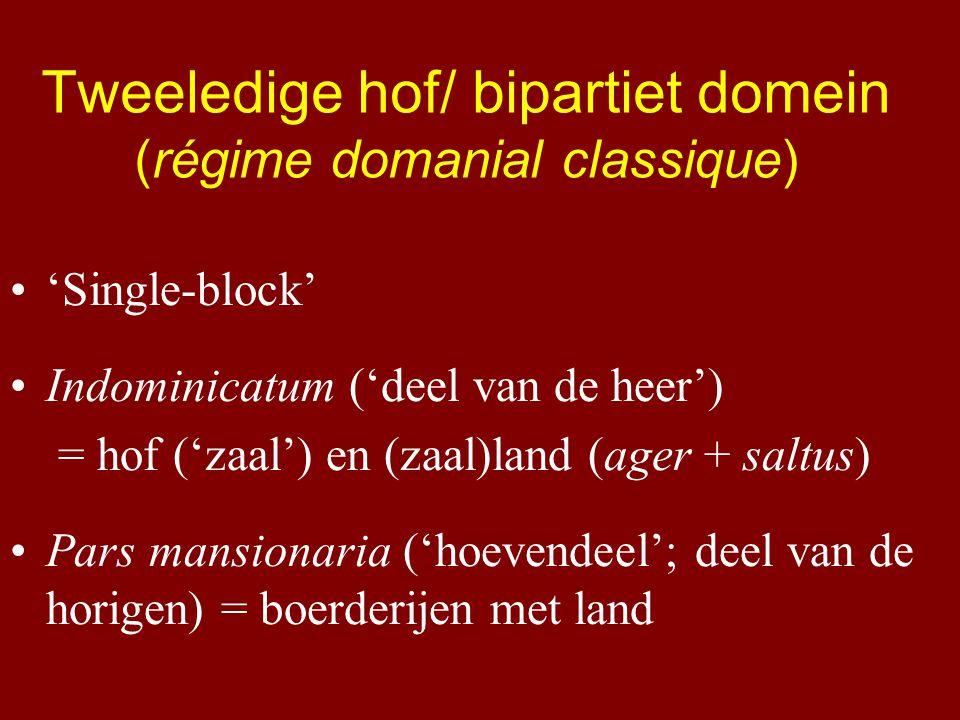 Tweeledige hof/ bipartiet domein (régime domanial classique) 'Single-block' Indominicatum ('deel van de heer') = hof ('zaal') en (zaal)land (ager + saltus) Pars mansionaria ('hoevendeel'; deel van de horigen) = boerderijen met land