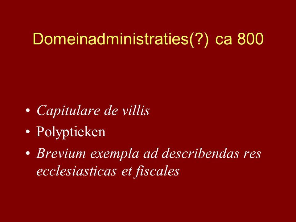 Domeinadministraties(?) ca 800 Capitulare de villis Polyptieken Brevium exempla ad describendas res ecclesiasticas et fiscales