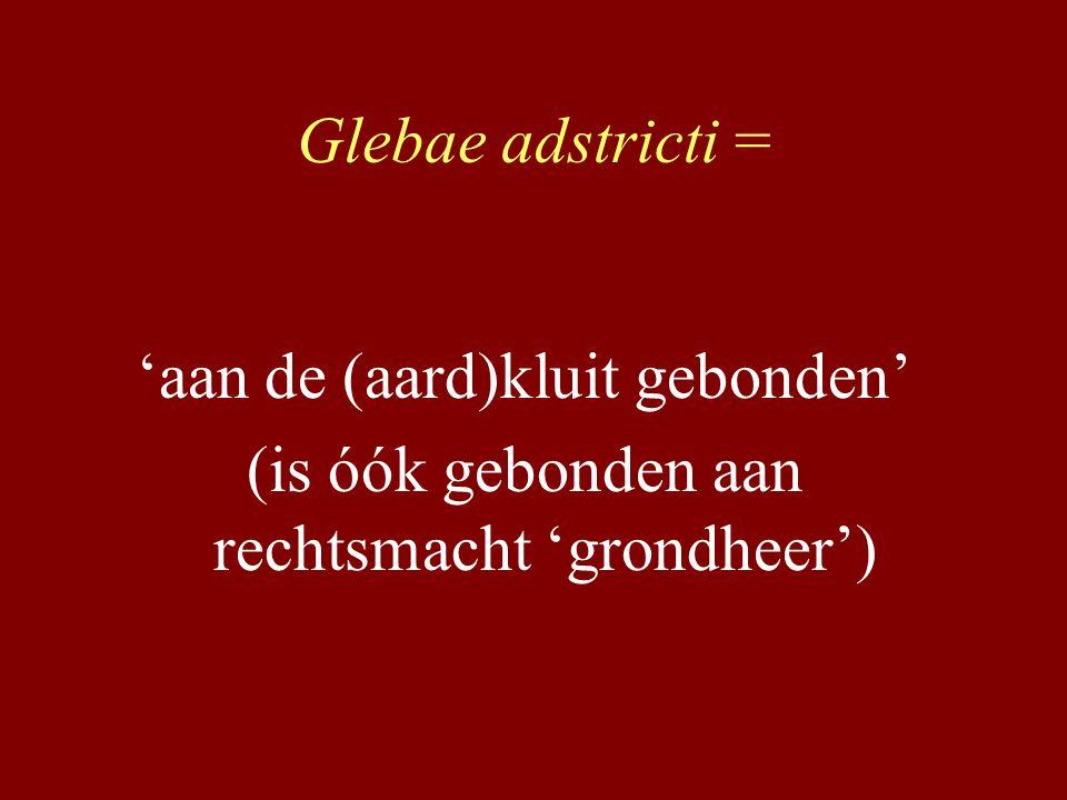 Glebae adstricti = 'aan de (aard)kluit gebonden' (is óók gebonden aan rechtsmacht 'grondheer')