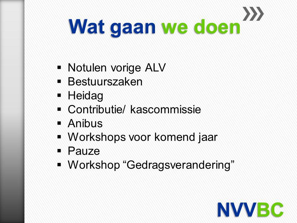 """ Notulen vorige ALV  Bestuurszaken  Heidag  Contributie/ kascommissie  Anibus  Workshops voor komend jaar  Pauze  Workshop """"Gedragsverandering"""