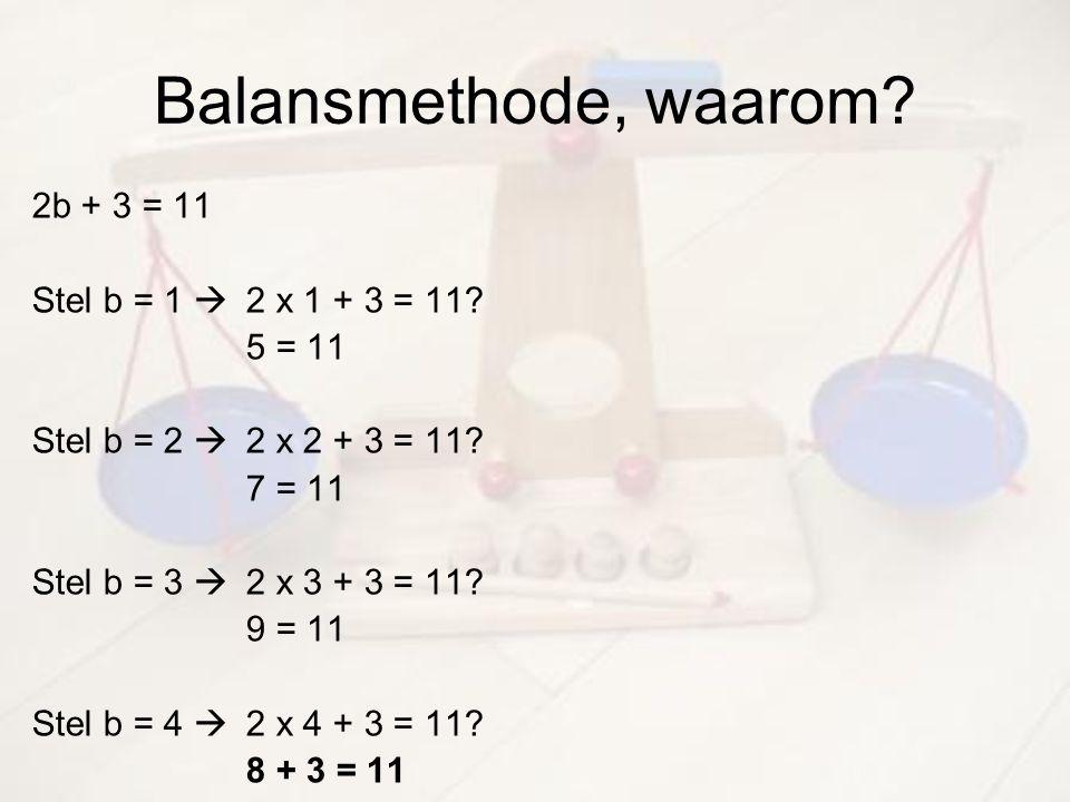 Balansmethode, waarom? 2b + 3 = 11 Stel b = 1  2 x 1 + 3 = 11? 5 = 11 Stel b = 2  2 x 2 + 3 = 11? 7 = 11 Stel b = 3  2 x 3 + 3 = 11? 9 = 11 Stel b