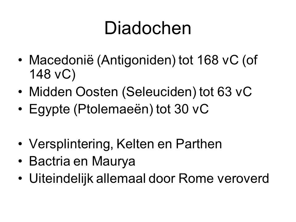 Diadochen Macedonië (Antigoniden) tot 168 vC (of 148 vC) Midden Oosten (Seleuciden) tot 63 vC Egypte (Ptolemaeën) tot 30 vC Versplintering, Kelten en