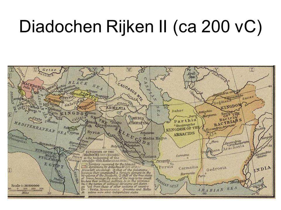 Macedonië Domineert Griekenland, maar geen rijk Griekenland kent verschillende `bonden' Poleis worden vaak oligarchisch bestuurd (boule) Andere staten: Pergamum, Epirus