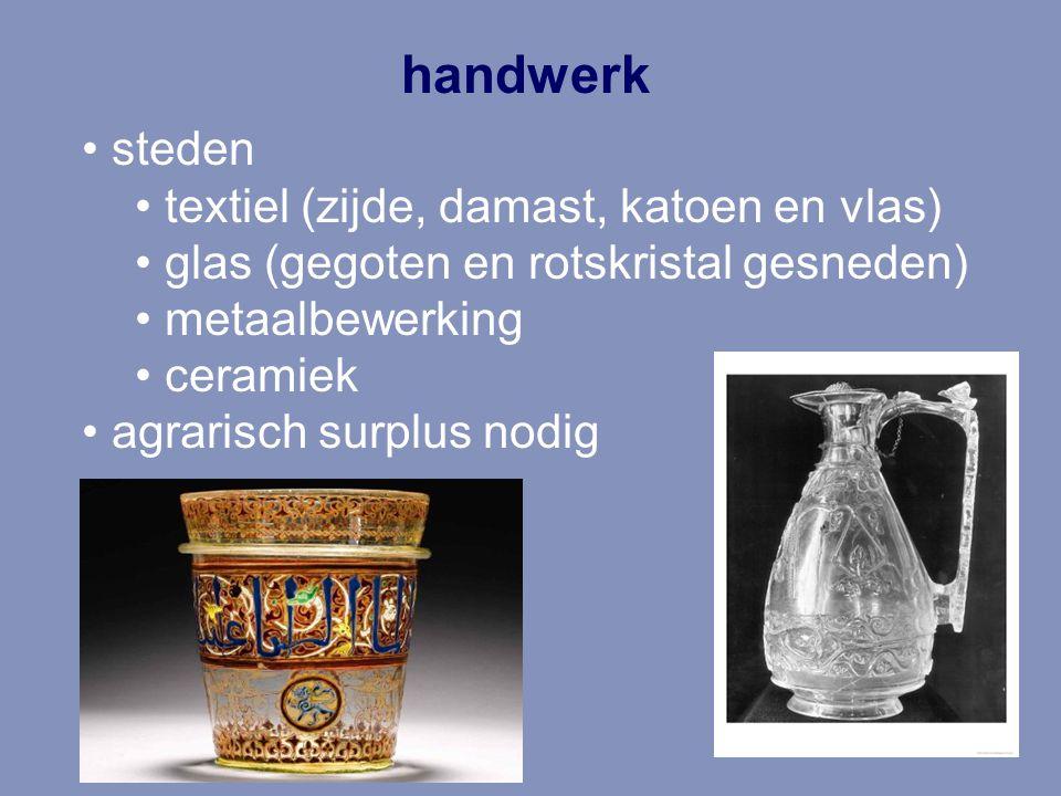 handwerk steden textiel (zijde, damast, katoen en vlas) glas (gegoten en rotskristal gesneden) metaalbewerking ceramiek agrarisch surplus nodig