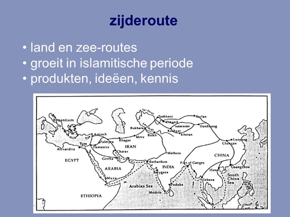 zijderoute land en zee-routes groeit in islamitische periode produkten, ideëen, kennis