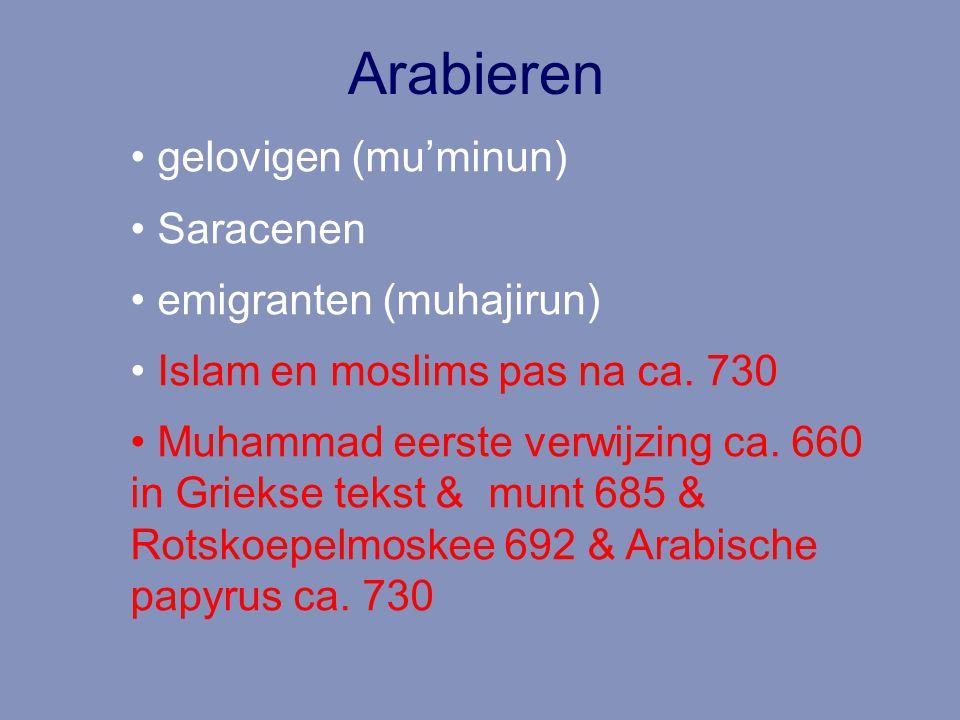 Arabieren gelovigen (mu'minun) Saracenen emigranten (muhajirun) Islam en moslims pas na ca. 730 Muhammad eerste verwijzing ca. 660 in Griekse tekst &