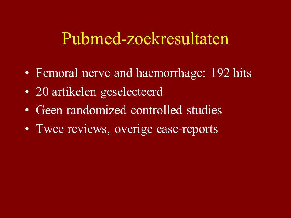 Pubmed-zoekresultaten Femoral nerve and haemorrhage: 192 hits 20 artikelen geselecteerd Geen randomized controlled studies Twee reviews, overige case-