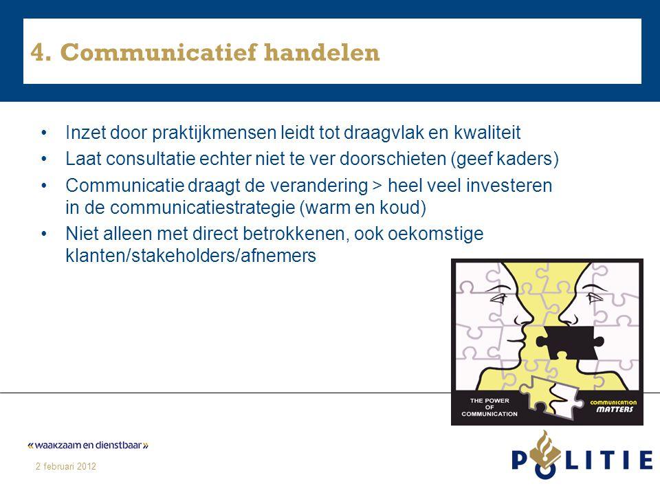 2 februari 2012 4. Communicatief handelen Inzet door praktijkmensen leidt tot draagvlak en kwaliteit Laat consultatie echter niet te ver doorschieten
