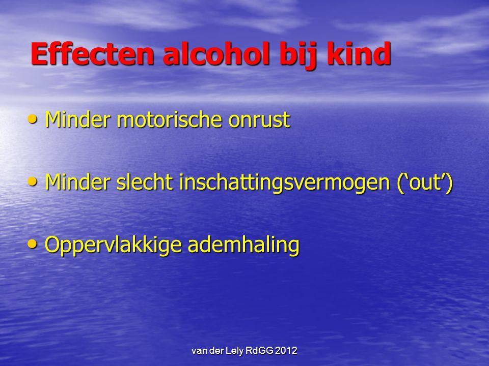 van der Lely RdGG 2012 Effecten alcohol bij kind Minder motorische onrust Minder motorische onrust Minder slecht inschattingsvermogen ('out') Minder s