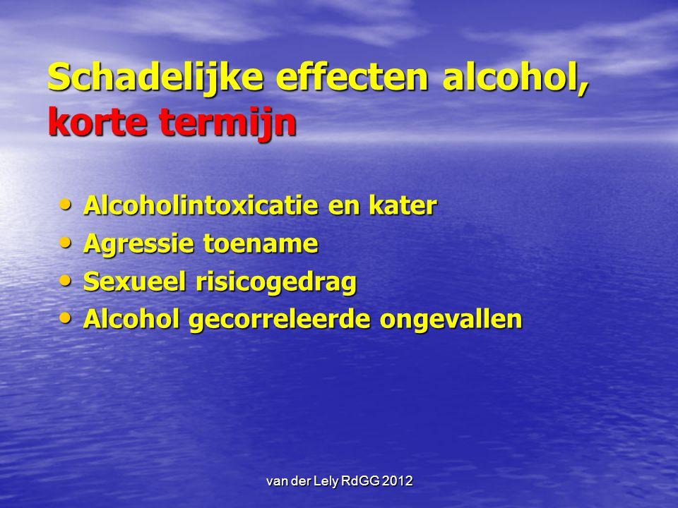 Schadelijke effecten alcohol, korte termijn Alcoholintoxicatie en kater Alcoholintoxicatie en kater Agressie toename Agressie toename Sexueel risicoge