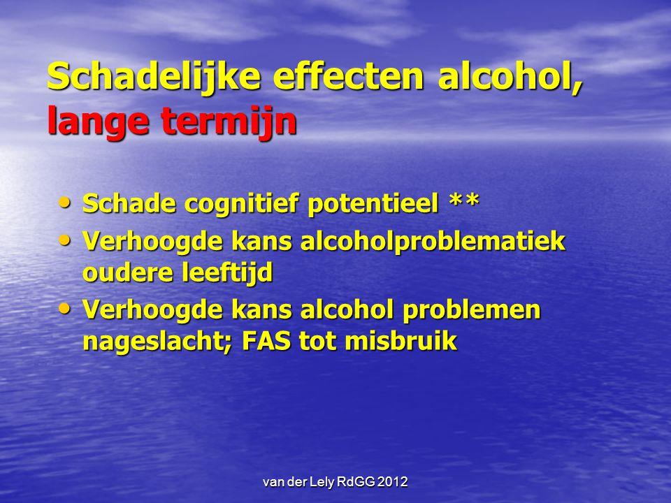 Schadelijke effecten alcohol, lange termijn Schade cognitief potentieel ** Schade cognitief potentieel ** Verhoogde kans alcoholproblematiek oudere le