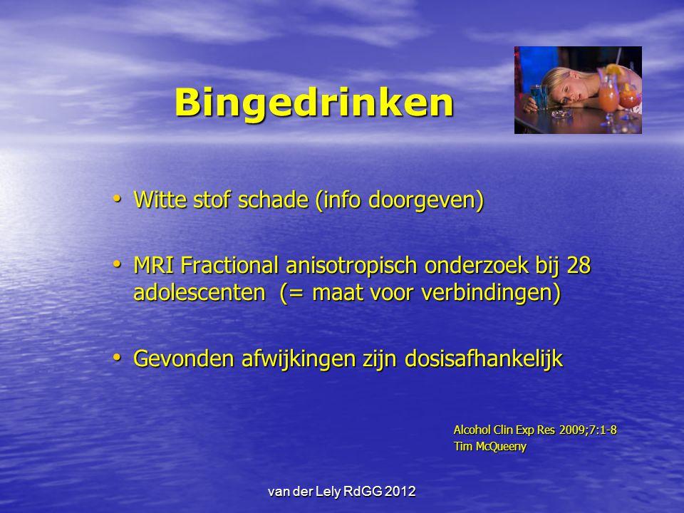 Bingedrinken Witte stof schade (info doorgeven) Witte stof schade (info doorgeven) MRI Fractional anisotropisch onderzoek bij 28 adolescenten (= maat