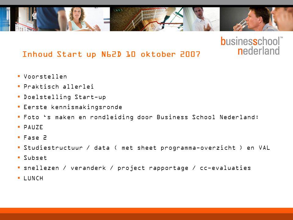 Inhoud Start up N62D 10 oktober 2007  Voorstellen  Praktisch allerlei  Doelstelling Start-up  Eerste kennismakingsronde  Foto 's maken en rondlei