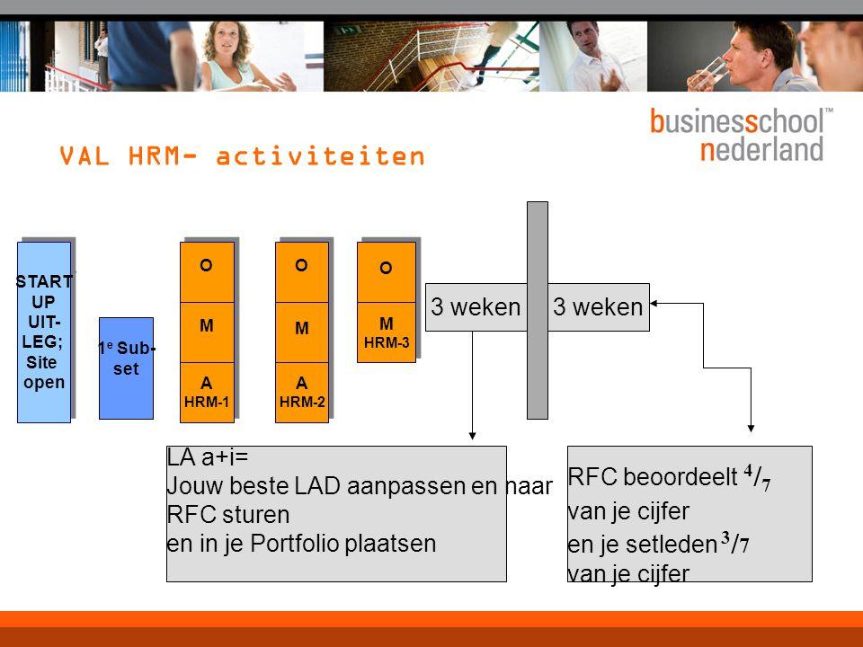 VAL HRM- activiteiten START UP UIT- LEG; Site open START UP UIT- LEG; Site open A HRM-1 A HRM-1 M M O O A HRM-2 A HRM-2 M M O O M HRM-3 M HRM-3 O O 1 e Sub- set LA a+i= Jouw beste LAD aanpassen en naar RFC sturen en in je Portfolio plaatsen RFC beoordeelt 4 / 7 van je cijfer en je setleden 3 / 7 van je cijfer 3 weken