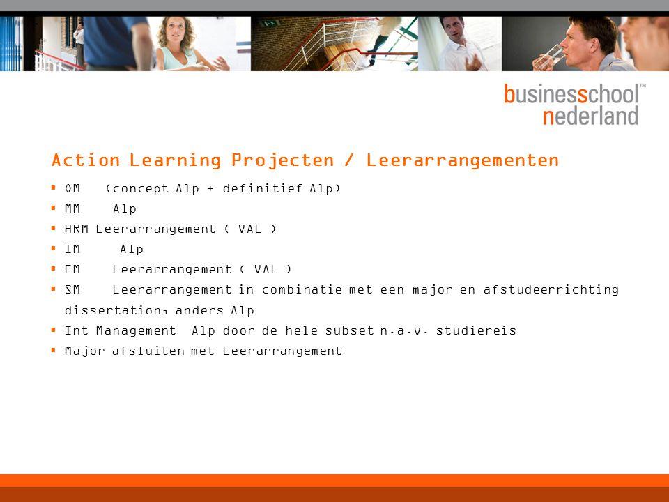 Action Learning Projecten / Leerarrangementen  OM (concept Alp + definitief Alp)  MM Alp  HRM Leerarrangement ( VAL )  IM Alp  FM Leerarrangement