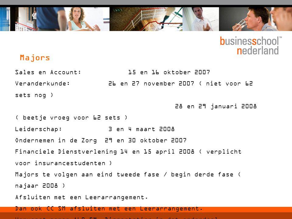 Sales en Account: 15 en 16 oktober 2007 Veranderkunde: 26 en 27 november 2007 ( niet voor 62 sets nog ) 28 en 29 januari 2008 ( beetje vroeg voor 62 s