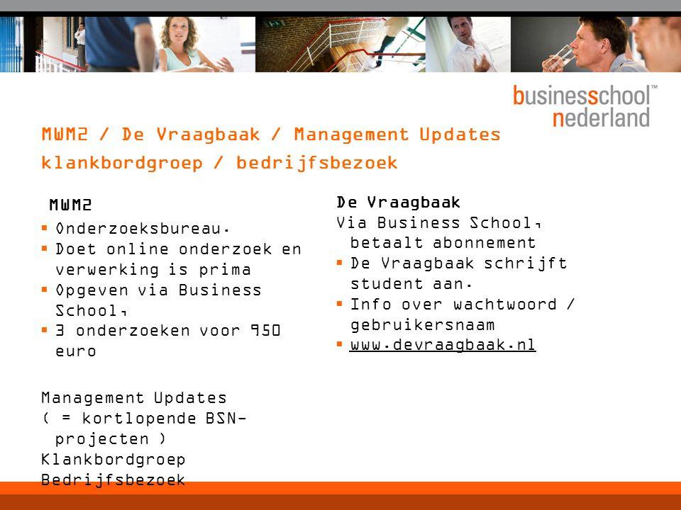 MWM2 / De Vraagbaak / Management Updates klankbordgroep / bedrijfsbezoek MWM2  Onderzoeksbureau.  Doet online onderzoek en verwerking is prima  Opg