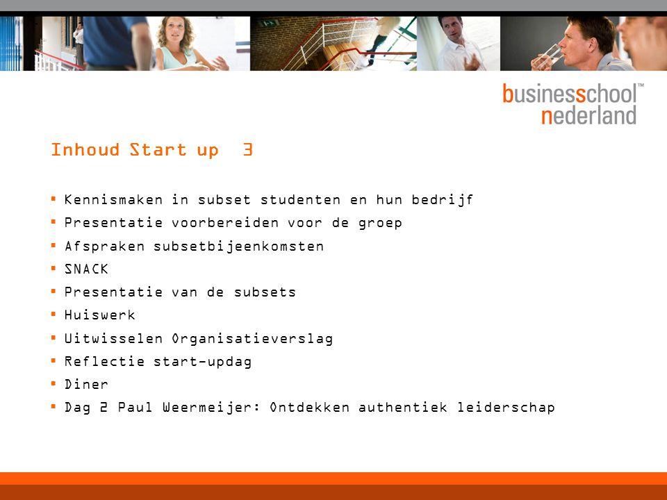 Inhoud Start up 3  Kennismaken in subset studenten en hun bedrijf  Presentatie voorbereiden voor de groep  Afspraken subsetbijeenkomsten  SNACK 