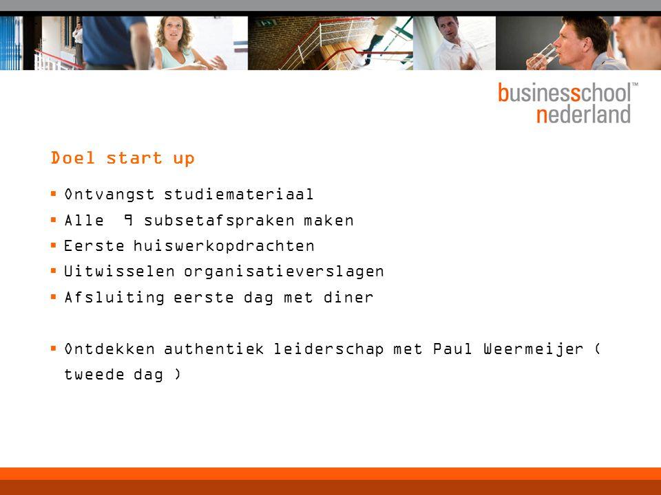 Doel start up  Ontvangst studiemateriaal  Alle 9 subsetafspraken maken  Eerste huiswerkopdrachten  Uitwisselen organisatieverslagen  Afsluiting e