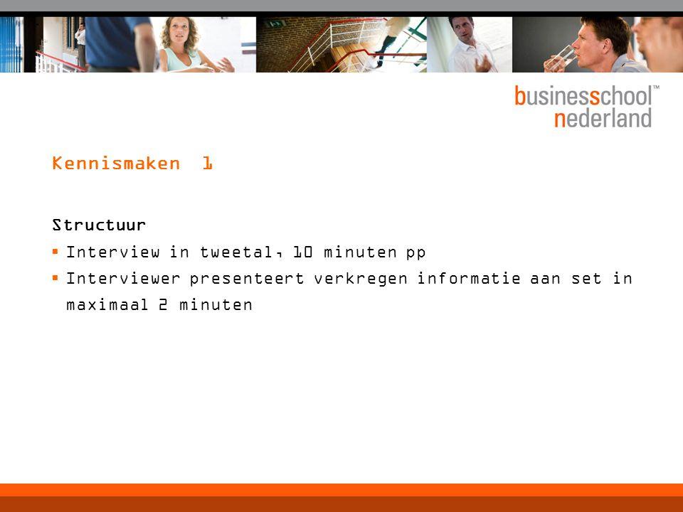 Kennismaken 1 Structuur  Interview in tweetal, 10 minuten pp  Interviewer presenteert verkregen informatie aan set in maximaal 2 minuten
