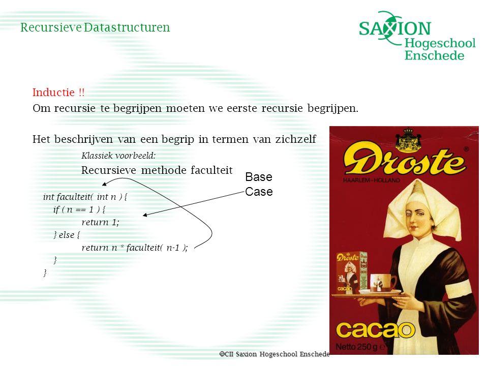  CII Saxion Hogeschool Enschede Recursieve Datastructuren Recursie als problem solver Torens van Hanoi Kennis van het probleem Mooie code.