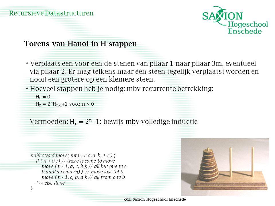  CII Saxion Hogeschool Enschede Recursieve Datastructuren Torens van Hanoi in H stappen Verplaats een voor een de stenen van pilaar 1 naar pilaar 3m,