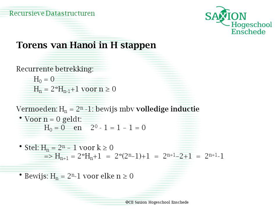  CII Saxion Hogeschool Enschede Recursieve Datastructuren Torens van Hanoi in H stappen Recurrente betrekking: H 0 = 0 H n = 2*H n-1 +1 voor n ≥ 0 Ve