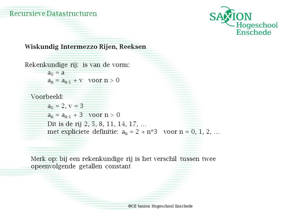  CII Saxion Hogeschool Enschede Recursieve Datastructuren Wiskundig Intermezzo Rijen, Reeksen Rekenkundige rij: is van de vorm: a 0 = a a n = a n-1 +