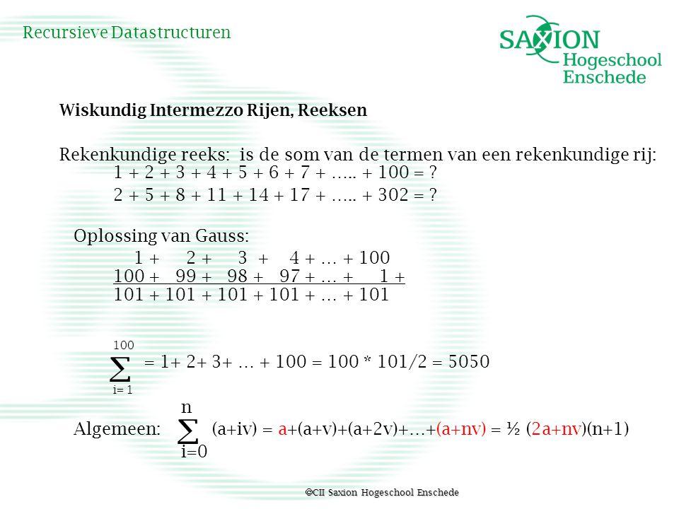  CII Saxion Hogeschool Enschede Recursieve Datastructuren Wiskundig Intermezzo Rijen, Reeksen Rekenkundige reeks: is de som van de termen van een rek