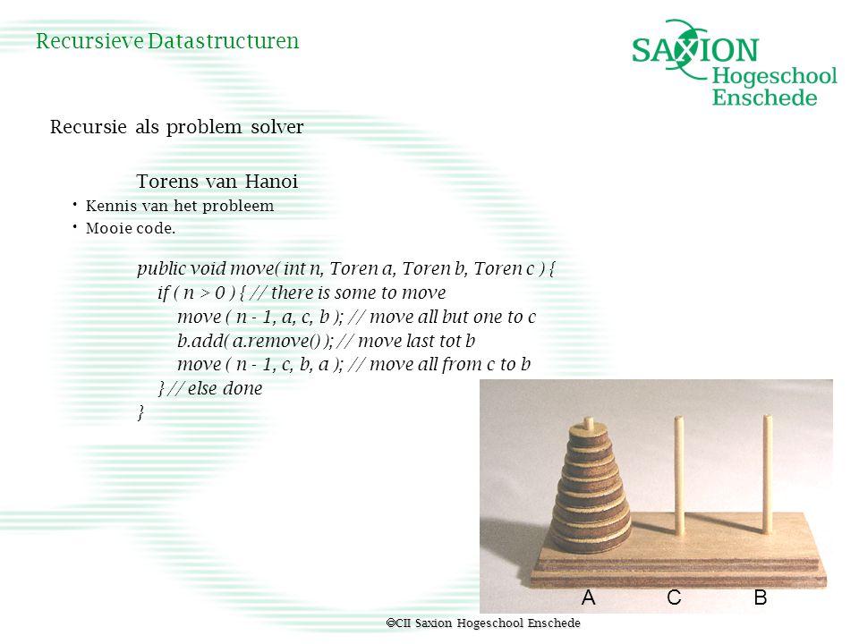  CII Saxion Hogeschool Enschede Recursieve Datastructuren Torens van Hanoi: aantal benodigde stappen H voor N stenen geeft rij H 0 = 0, H 1 = 1, H 2 = 3, H 3 = 7 (0,1,3,7….) Recurente betrekking H 0 = 0 H n = 2 * H n-1 + 1 voor n > 0 Zie ook faculteit: (zie ook code) f 0 = 1 f n = n * fac( n-1 ) Of Fibonacci (oefening)