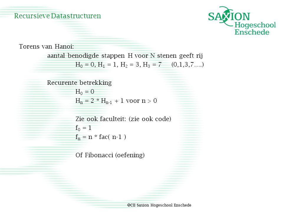  CII Saxion Hogeschool Enschede Recursieve Datastructuren Torens van Hanoi: aantal benodigde stappen H voor N stenen geeft rij H 0 = 0, H 1 = 1, H 2