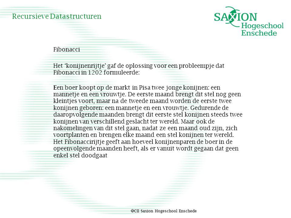  CII Saxion Hogeschool Enschede Recursieve Datastructuren Fibonacci Het 'konijnenrijtje' gaf de oplossing voor een probleempje dat Fibonacci in 1202
