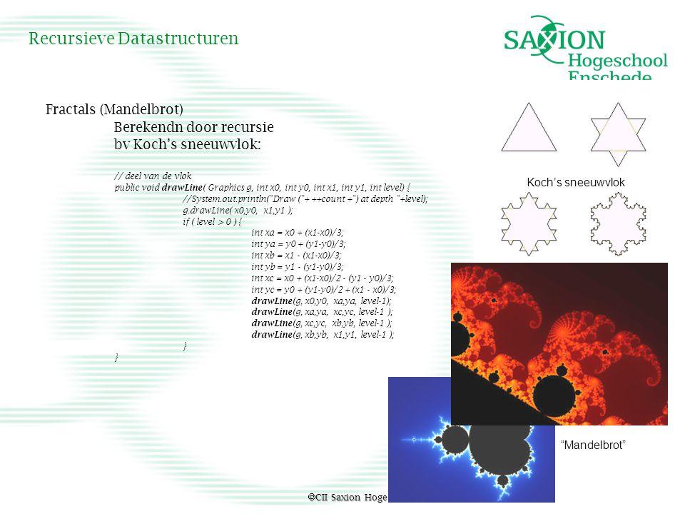  CII Saxion Hogeschool Enschede Recursieve Datastructuren Fractals (Mandelbrot) Berekendn door recursie bv Koch's sneeuwvlok: // deel van de vlok pub