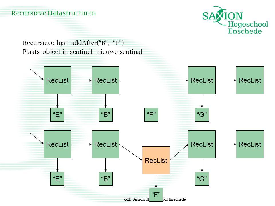 " CII Saxion Hogeschool Enschede Recursieve Datastructuren Recursieve lijst: addAfter(""B"", ""F"") Plaats object in sentinel, nieuwe sentinal RecList ""E"""