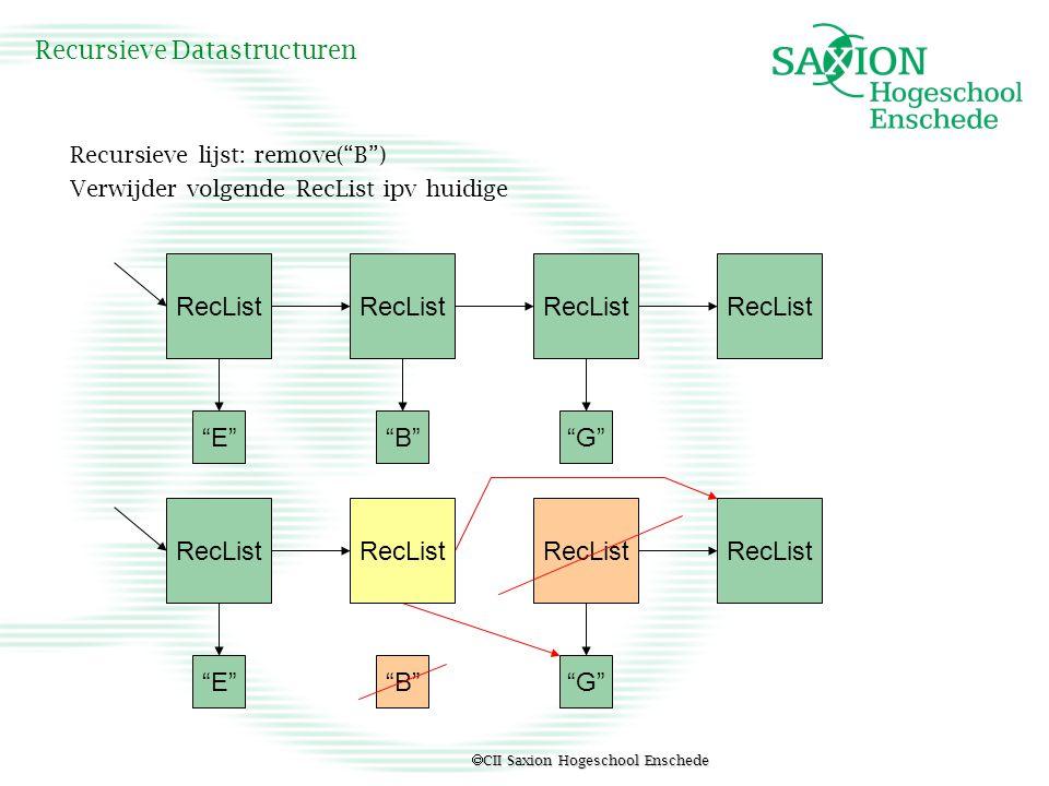  CII Saxion Hogeschool Enschede Recursieve Datastructuren Wiskundig Intermezzo Rijen, Reeksen Meetkundige reeks is de som van de termen van een meetkundige rij S n = a+ar+ar 2 +ar 3 +...+ +...+ar n Er geldt S n = a+ar+ar 2 +ar 3 +...ar n r*S n = ar+ar 2 +ar 3 +...ar n +ar n+1 - S n –r*S n = a - ar n+1 ofwel: (1-r)*S n = a*(1 - r n+1 ) Dus als r ≠ 1 => S n = a*(1 - r n+1 ) / (1- r) n a*r i = a*(1-r n+1 ) / (1 – r) i=0 ∑