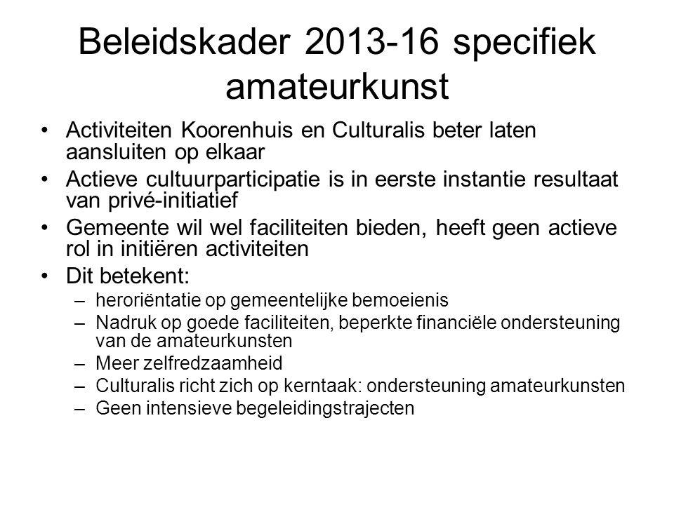 Beleidskader 2013-16 specifiek amateurkunst Activiteiten Koorenhuis en Culturalis beter laten aansluiten op elkaar Actieve cultuurparticipatie is in e