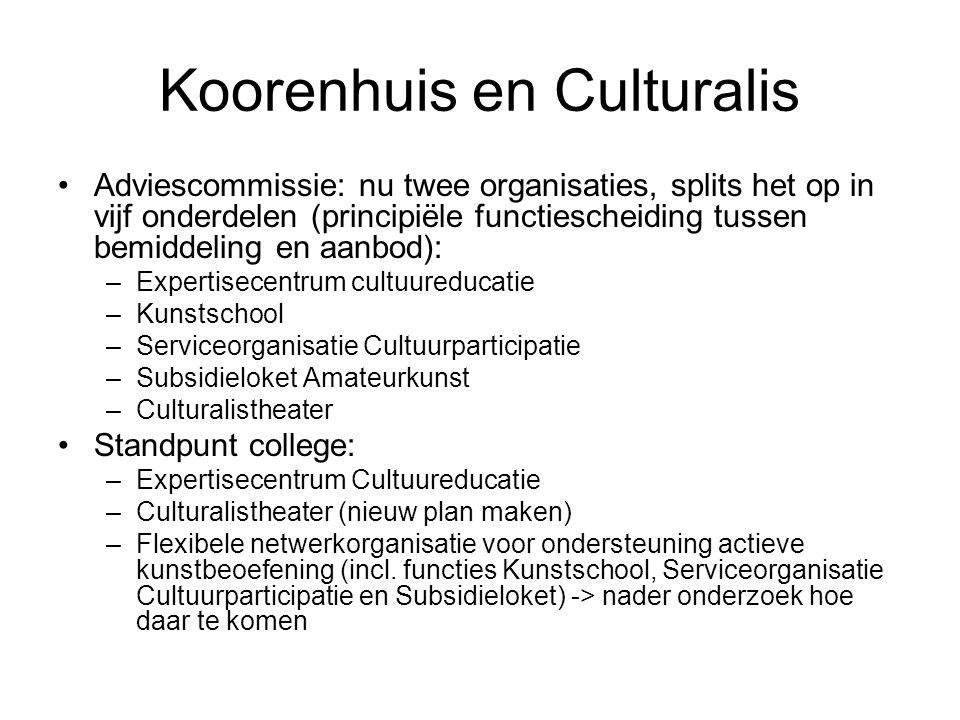 Koorenhuis en Culturalis Adviescommissie: nu twee organisaties, splits het op in vijf onderdelen (principiële functiescheiding tussen bemiddeling en a