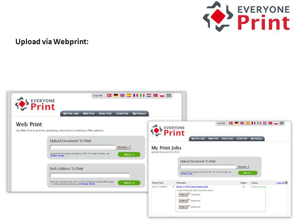 Upload via Webprint: