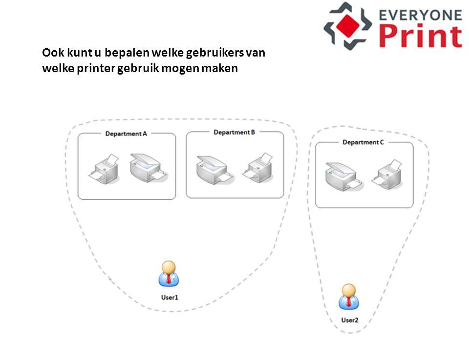 Ook kunt u bepalen welke gebruikers van welke printer gebruik mogen maken