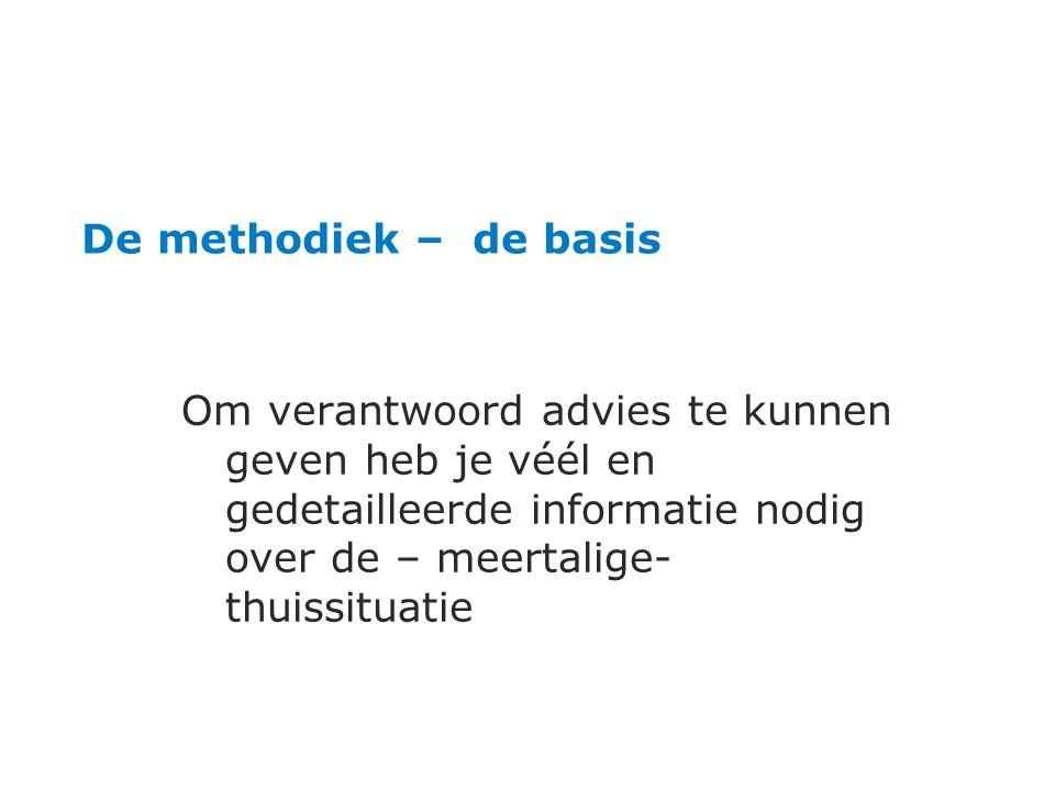 De methodiek – de basis Om verantwoord advies te kunnen geven heb je véél en gedetailleerde informatie nodig over de – meertalige- thuissituatie