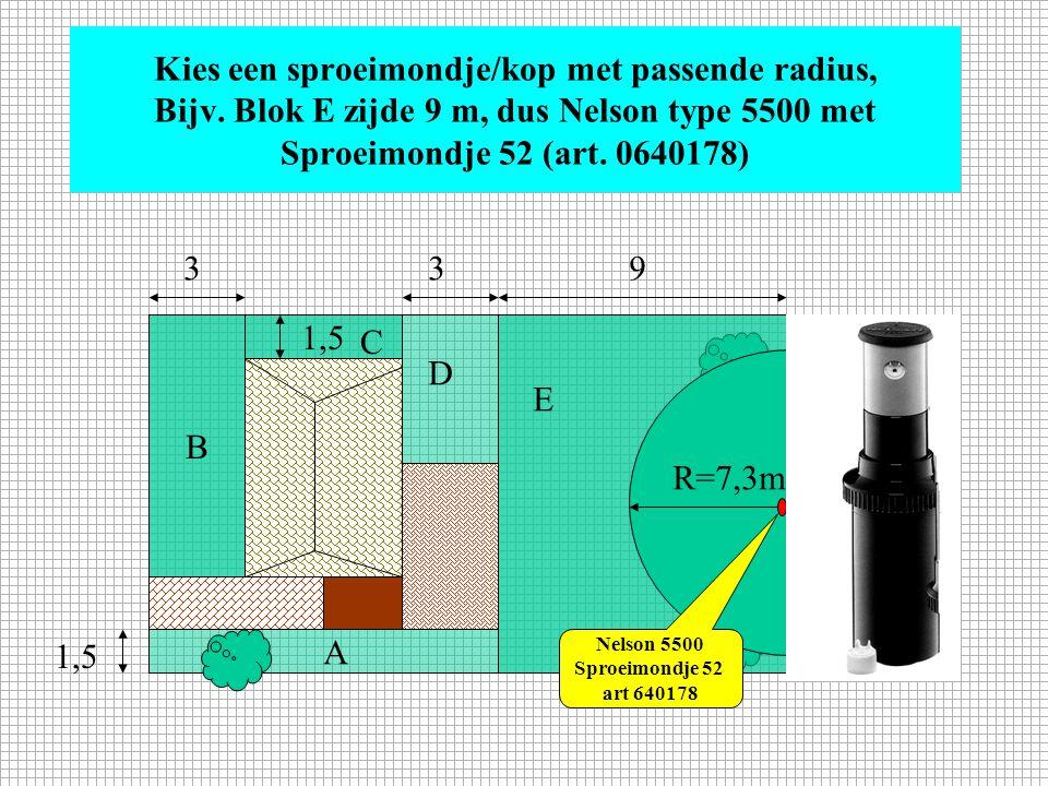 Kies een sproeimondje/kop met passende radius, Bijv. Blok B zijde 3 m, dus Nelson type 6300 met Lage Capaciteit sproeikop (art. 0640395 t/m 0640408) 1
