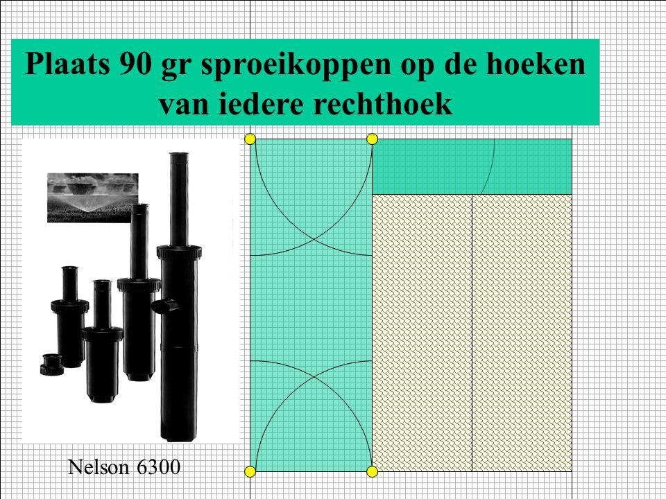 Kies een sproeimondje/kop met passende radius, Bijv. Blok E zijde 9 m, dus Nelson type 5500 met Sproeimondje 52 (art. 0640178) D B 1,5 E 339 Nelson 55
