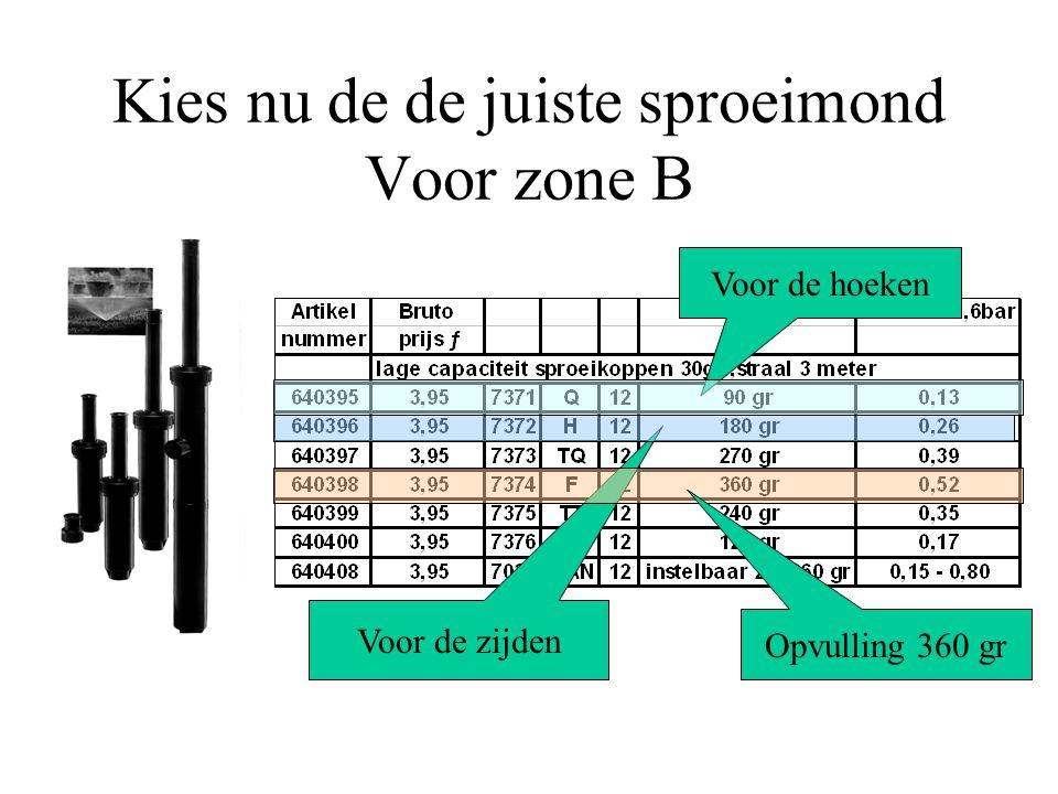 Kies nu de de juiste sproeimond bijvoorbeeld zone E op de zijde nozzle 53 Je ziet dus dat de afgifte 2x zo groot is bij gelijke druk, de neerslaghoeve
